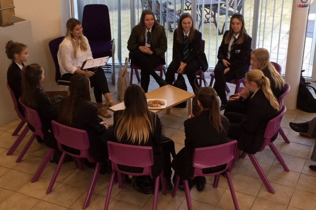 Some of the girls taking part in a careers Q&A session with IBM & STFC staff.
